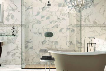 Fantasy-Bathroom-with-Chandelier-and-Calacatta-Tile-56a4a0e85f9b58b7d0d7e505